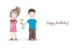 Flüchtige Karikaturillustration eines schüchternen Jungen, der einem hübschen Mädchen eine Blume gibt Stockfoto