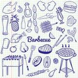 Flüchtige Linie Kunst Gekritzelkarikatursatz des Vektors von Gegenständen und von Symbolen für Grill- und Grillthema lizenzfreie abbildung