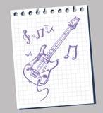 Flüchtige stilisiert Abbildung einer Gitarre Stockfotografie