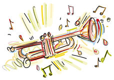 Flüchtige Trompete stock abbildung