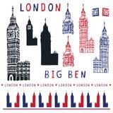 Flüchtiger Glockenturm-Glockenspiel clipart Elementsatz Londons Big Ben berühmt stock abbildung