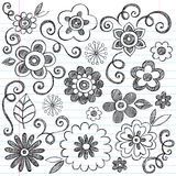 Flüchtiges Blumen-Notizbuch kritzelt vektorset stock abbildung
