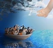 Flüchtlinge auf einem Boot Stockfoto