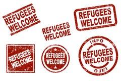 Flüchtlinge begrüßen Tintenstempel vektor abbildung