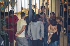 Flüchtlinge an Keleti-Bahnstation in Budapest Stockbild