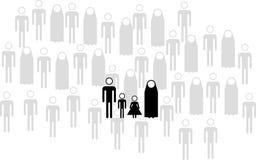 Flüchtlingsfamilie (Piktogramm) Stockbild