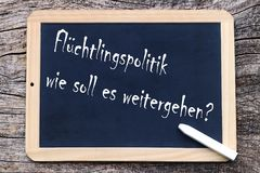How should refugee policy continue?. Flüchtlingspolitik, wie soll es weitergehen? How should refugee policy continue Royalty Free Stock Photos