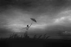 Flüge durch Regenschirm Stockfotos