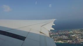Flügel des Flugzeugfliegens über Ozean und Stadt stock footage