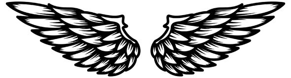 Flügel lokalisiert auf weißem Hintergrund Gestaltungselement für Logo, Aufkleber, Emblem, Zeichen Lizenzfreie Stockbilder