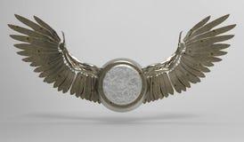 Flügel und Medaillon stockbild