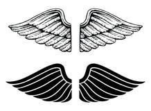 Flügel-Weinlese-und Grafik-Art stock abbildung