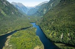 Flüsse bei Milford Sound, Neuseeland stockbild
