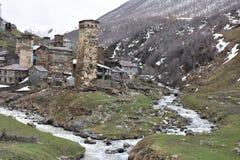 Flüsse zusammenlaufendes Ushguli, svaneti, Georgia Stockbilder