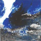 Flüssige Acrylfarbe, flüssige Grafik, abstrakter bunter Hintergrund mit farbigen gemalten Zellen, Flecke Retro- Farben Stockfoto