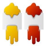 Flüssige angebrachte Kennsätze - Rot und Gelb Stockbild