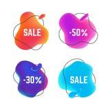 Flüssige Fahnen des Verkaufs Organische abstrakte runde Titelblase, flüssiger Entwurf des Rabattaufklebers, Verkaufsgeschäft P vektor abbildung