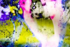 Flüssige Farbe des abstrakten Hintergrundes über dem Eis, geräuchert Stockbilder