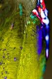 Flüssige Farbe des abstrakten Hintergrundes über dem Eis, geräuchert Stockbild