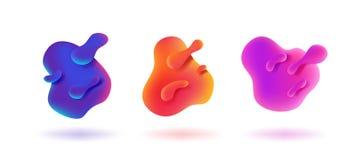 Flüssige Formfahne Grafische Wellenelemente der Steigung, dynamisches flüssiges Farbspritzen, moderne organische Flussschablone V stock abbildung