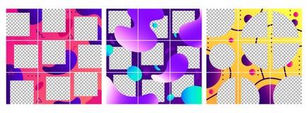 Flüssige Formpostenschablone Buntes abstraktes modisches Social Media-Foto gestaltet Posten, Puzzlespielgitter-Schablonenplan vektor abbildung