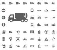 Flüssige LKW-Ikone Gesetzte Ikonen des Transportes und der Logistik Gesetzte Ikonen des Transportes Lizenzfreies Stockfoto