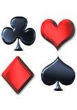 Flüssige Metallspielkartesymbole Stockfotos