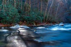 Flüssiger Fluss mit Felsen und Bäumen Stockbilder