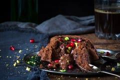 Flüssiger Kuchen der Schokolade Stockfotografie
