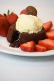 Flüssiger Schokoladen-Kuchen Stockfoto