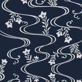 Flüssiges Flussmuster der japanischen Blumen Stockbilder