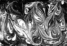 Flüssiges gemarmortes Schwarzweiss-Muster Einfarbiger Hintergrund Lizenzfreies Stockbild