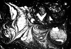Flüssiges gemarmortes Schwarzweiss-Muster Einfarbiger Hintergrund Lizenzfreie Stockfotografie