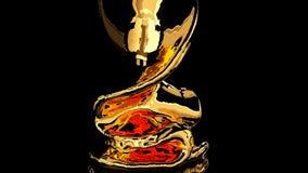 Flüssiges Gold fällt auf den Spiegel stock abbildung
