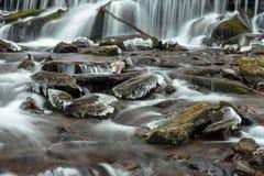 Flüssiges Wasser des Karpatengebirgsstromes Stockfoto