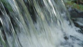 Flüssiges Wasser spritzt auf Wasserfall mit Zeitlupe des grünen Grases und schließt herauf Makro stock footage