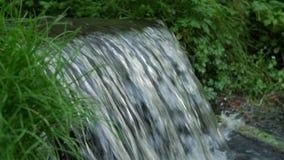 Flüssiges Wasser spritzt auf Wasserfall mit Zeitlupe des grünen Grases und schließt herauf Makro stock video footage