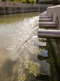 Flüssiges Wasser von der Rohroberlederansicht Lizenzfreie Stockfotografie