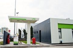 Flüssiggasstation im Freien, billigere Benzinalternative stockfotografie