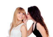 Flüstern mit zwei jugendlich Schwestern Lizenzfreies Stockbild