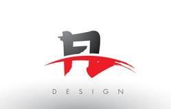FL F L brosse Logo Letters avec l'avant de brosse de bruissement de rouge et de noir Image libre de droits