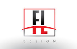 FL F L Logo Letters avec des couleurs et le bruissement rouges et noirs Photographie stock