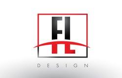 FL F L Logo Letters con colores rojos y negros y Swoosh Fotografía de archivo