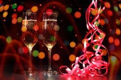 Fl?ten des Champagners in der Feiertagseinstellung stockfoto