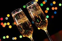 Fl?ten des Champagners in der Feiertagseinstellung stockbilder