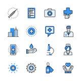 Fla médico del web del lineart de la emergencia de la ayuda de la atención sanitaria stock de ilustración