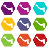 Flabby arm cosmetic correction icon set color hexahedron. Flabby arm cosmetic correction icon set many color hexahedron isolated on white vector illustration Stock Photography
