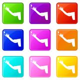 Flabby arm cosmetic correction icons 9 set Royalty Free Stock Photo