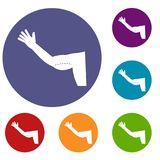 Flabby arm cosmetic correction icons set Royalty Free Stock Photos