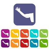 Flabby arm cosmetic correction icons set flat Royalty Free Stock Photo